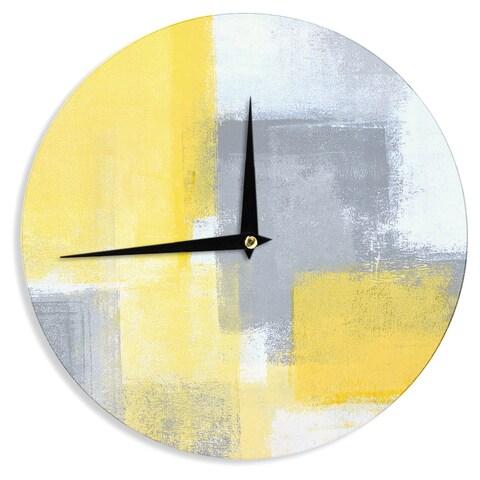 KESS InHouseCarolLynn Tice 'Steady' Yellow Gray Wall Clock