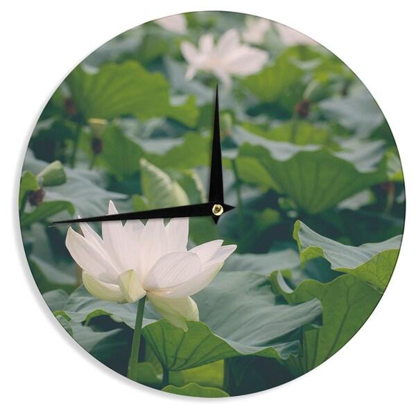 KESS InHouseCatherine McDonald 'White Lotus' Green White Wall Clock