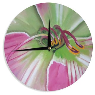 KESS InHouseCathy Rodgers 'Pink and Green' Flower Wall Clock