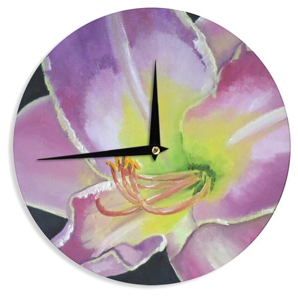 KESS InHouseCathy Rodgers 'Violet and Lemon' Purple GreenWall Clock