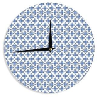 "KESS InHouseCarolyn Greifeld 'Bohemian Blues III' White Blue Wall Clock - 12"""