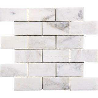 Italian Massa White Marble 2-inch x 4-inch x 3/8-inch Mosaic Polished Tiles