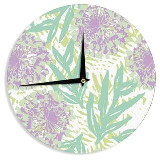 KESS InHouseChickaprint 'Varen' Purple GreenWall Clock