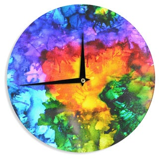 KESS InHouseClaire Day 'Karma' Rainbow Paint Wall Clock