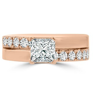 14k Rose Gold 1 3/5ct TDW Princess-cut La Vita Vital Engagement Ring (G-H, SI1-SI2)