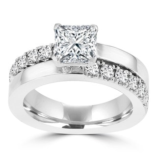 14k White Gold 1 3/5ct TDW Princess-cut La Vita Vital Engagement Ring (G-H, SI1-SI2)