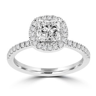 La Vita Vital 14k White Gold 1 3/5ct. TDW RB Diamond Halo Engagement Ring