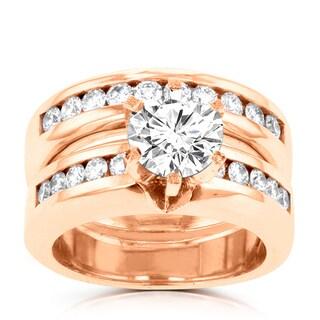 14k Rose Gold 1 7/8ct TDW La Vita Vital Bridal Set (G-H, SI1-SI2)