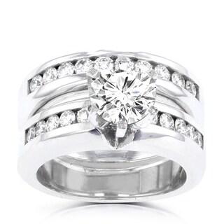 14k White Gold 1 7/8ct TDW La Vita Vital Bridal Set (G-H, SI1-SI2)