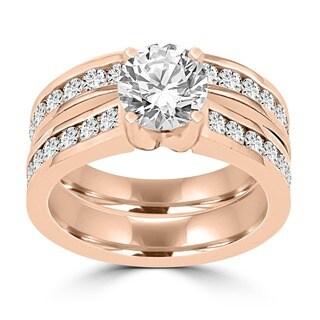 14k Rose Gold 2 1/4ct TDW La Vita Vital Bridal Set (G-H, SI1-SI2)