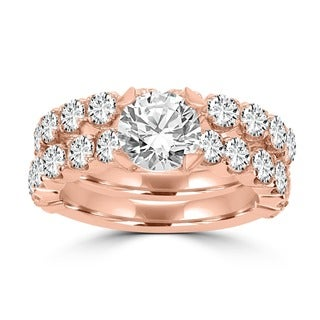 14k Rose Gold 3 2/5ct TDW La Vita Vital Bridal Set (G-H, SI1-SI2)