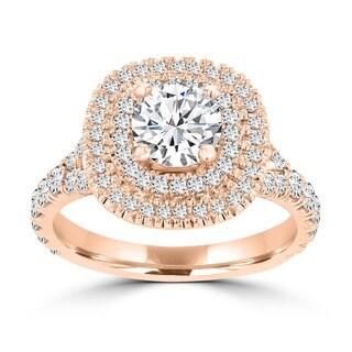 La Vita Vital 14k Rose/ White Gold 1 4/5ct TDW Double Halo Diamond Engagement Ring (G-H, VS-SI1)