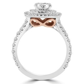 La Vita Vital 14k White/ Rose Gold 1 4/5ct TDW Double Halo Diamond Engagement Ring