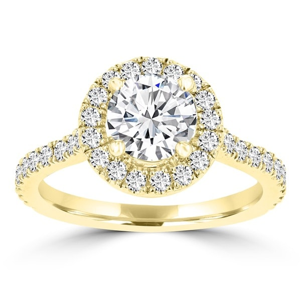 c886fe9ec560c La Vita Vital 14k Yellow Gold 1.55ct TDW RB Diamond Halo Engagement Ring