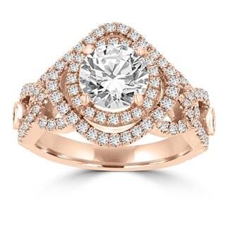 La Vita Vital 14k Rose Gold 1 3/5ct TDW Double Halo Diamond Engagement Ring (G-H, VS-SI1)