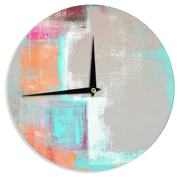 KESS InHouseCarolLynn Tice 'Gifted' Gray Aqua Wall Clock