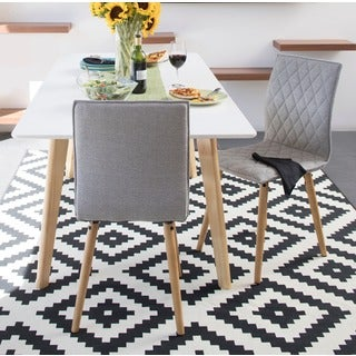Handy Living Portland Dove Gray Linen Dining Chairs (Set of 2)