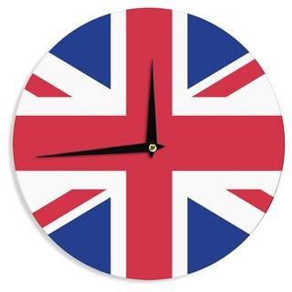 KESS InHouseBruce Stanfield 'British Union Jack Flag' Red Contemporary Wall Clock