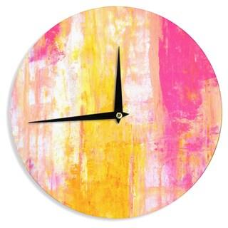 KESS InHouseCarolLynn Tice 'Growing Taller' Pink Yellow Wall Clock