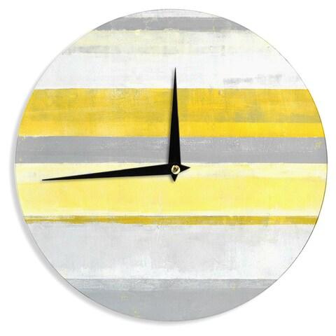 KESS InHouseCarolLynn Tice 'Lemon' Yellow Gray Wall Clock