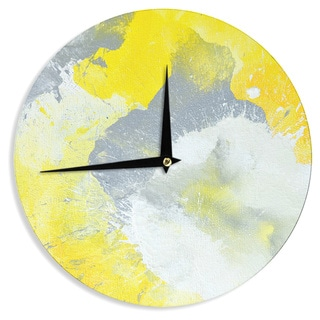KESS InHouseCarolLynn Tice 'Make A Mess' Yellow Gray Wall Clock