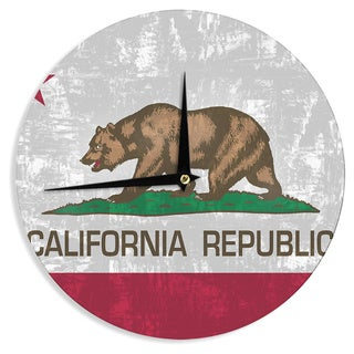 "Kess InHouse Bruce Stanfield ""California Flag"" Gray Red Wall Clock 12"""