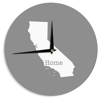 """Kess InHouse Bruce Stanfield """"California Is Home"""" Gray White Wall Clock 12"""""""