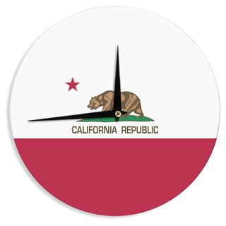 KESS InHouseBruce Stanfield 'California State Flag' Red White Wall Clock
