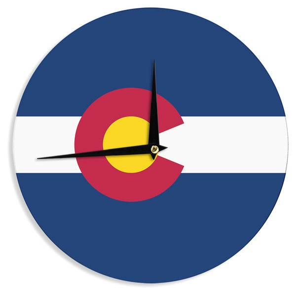 KESS InHouseBruce Stanfield 'Colorado State Flag' Blue Red Wall Clock