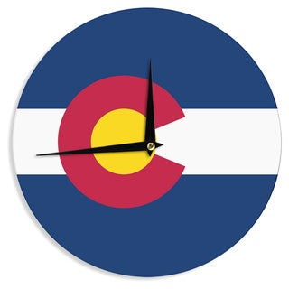 "Kess InHouse Bruce Stanfield ""Flag of Colorado II"" Blue Red Wall Clock 12"""