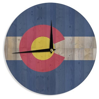"Kess InHouse Bruce Stanfield ""Flag of Colorado"" Blue Red Wall Clock 12"""