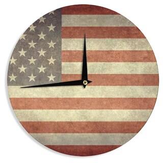 "Kess InHouse Bruce Stanfield ""Flag of US Retro"" Rustic Wall Clock 12"""