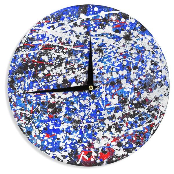 KESS InHouseBruce Stanfield 'Heiveilea In Blue' Balck Modern Wall Clock