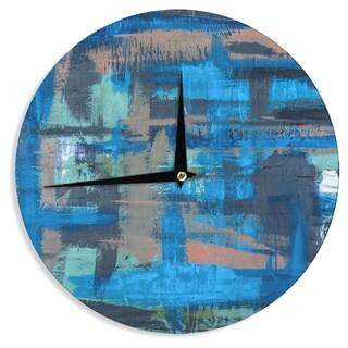 KESS InHouseBruce Stanfield 'Hyper Blue' Beige Painting Wall Clock