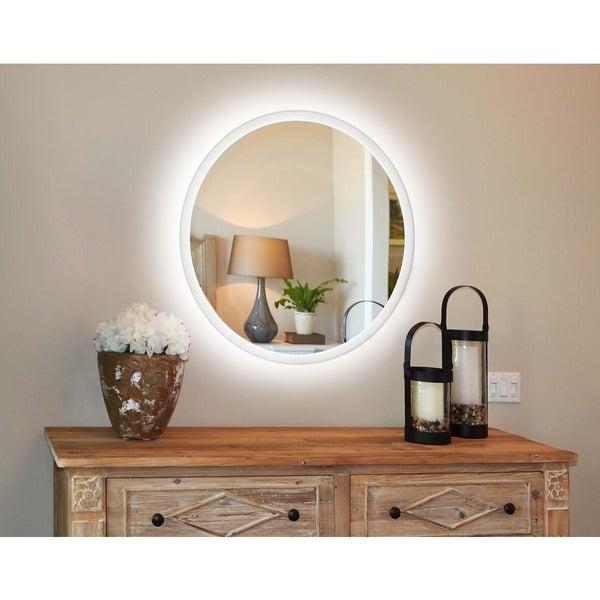 Innoci Usa Apollo Round Oval Led Wall Mount Lighted Vanity Mirror Featuring Ir Sensor