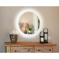 Innoci-USA Apollo Round/Oval LED Wall Mount Lighted Vanity Mirror Featuring IR Sensor and Energy Efficent LED Lighting