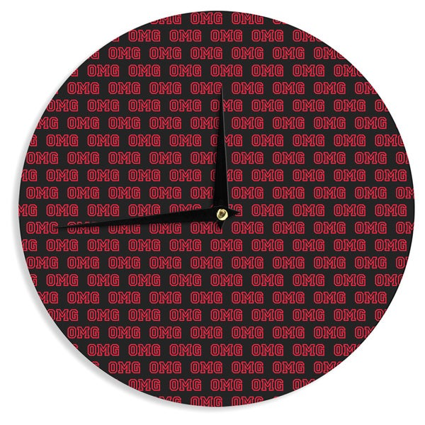 "Kess InHouse Bruce Stanfield ""OMG"" Black Red Wall Clock 12"""