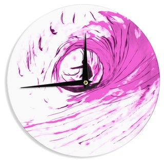 KESS InHouseBruce Stanfield 'Solo Surfer' Pink White Wall Clock