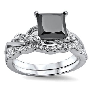 Noori 14k White Gold 1 3/4ct TDW Black Princess-cut Diamond Bridal Ring Set (F-G, SI1-SI2)