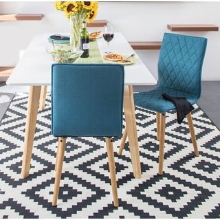 Portfolio Portland Caribbean Blue Linen Dining Chairs (Set of 2)