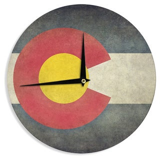 "Kess InHouse Bruce Stanfield ""State Flag of Colorado"" Black Red Wall Clock 12"""