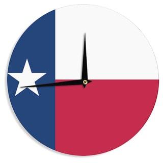 KESS InHouseBruce Stanfield 'Texas Flag' Red Blue Wall Clock