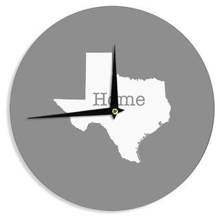 """Kess InHouse Bruce Stanfield """"Texas Is Home"""" White Gray Wall Clock 12"""""""