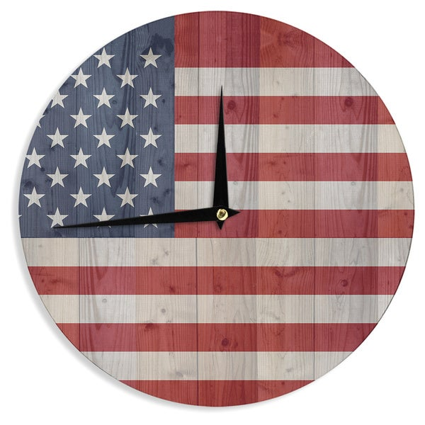 "Kess InHouse Bruce Stanfield ""USA Flag On Spruce"" Blue Red Wall Clock 12"""