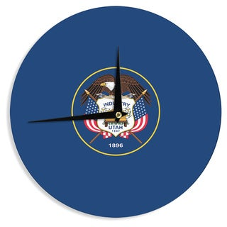 KESS InHouseBruce Stanfield 'Utah State Flag Authentic' Blue Red Wall Clock