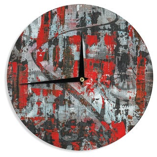 KESS InHouseBruce Stanfield 'Zinger In Red' Black Abstract Wall Clock
