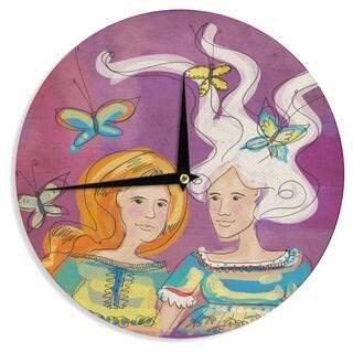 KESS InHouseCarina Povarchik 'Amigas' Purple People Wall Clock