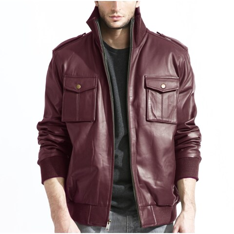 Men's Burgundy Leather Jacket Military Inspired Bomber