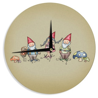 KESS InHouseCarina Povarchik 'Gnomes' Brown Multicolor Wall Clock