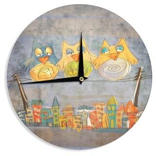 KESS InHouseCarina Povarchik 'Lechuzas' Gray Multicolor Wall Clock